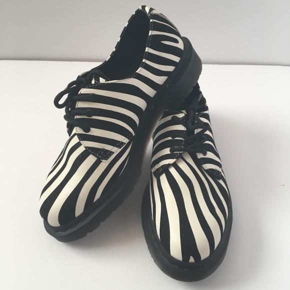 Dr martens 1461 black white zebra print shoe 7